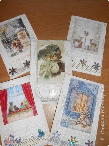 Здравствуйте, дорогие жители Страны Мастеров! Я решила потихоньку начать подготовку к Новому году и Рождеству. Это первые 5 открыток. фото 1