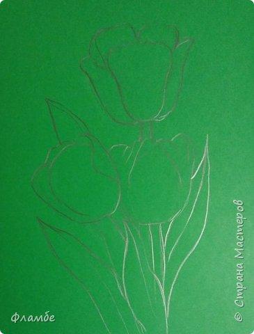 Всем привет! Все уже поняли, что я очень люблю тонированную бумагу))) На этот раз тюльпаны, хотя, конечно, не сезон))).Для работы понадобится: Бумага тонированная зелёного цвета, гуашь. фото 2
