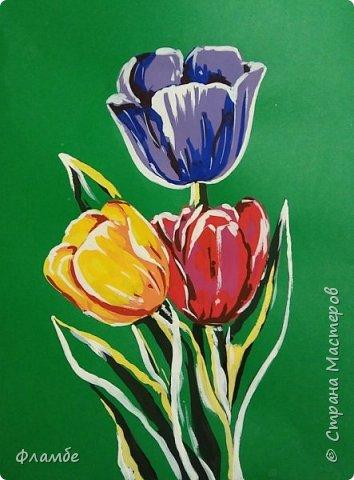 Всем привет! Все уже поняли, что я очень люблю тонированную бумагу))) На этот раз тюльпаны, хотя, конечно, не сезон))).Для работы понадобится: Бумага тонированная зелёного цвета, гуашь. фото 8