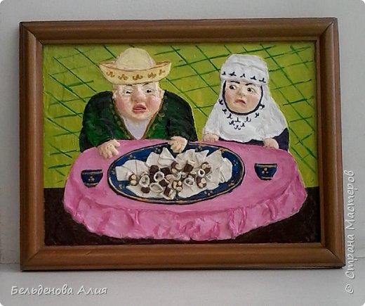 Бешпармак - это вкусно и просто. Картина для кухни, для улучшения аппетита, а чтобы не переедали, бабушка следит. фото 1