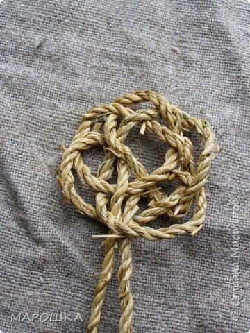осталось несколько веревок после изготовления травяной посуды - куда их? попробовала завязать в турецкий узел - смотрите.. фото 6