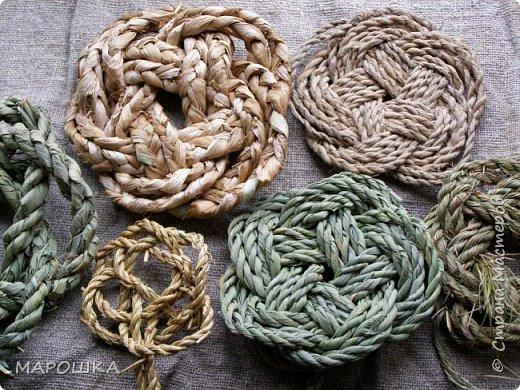 осталось несколько веревок после изготовления травяной посуды - куда их? попробовала завязать в турецкий узел - смотрите.. фото 7