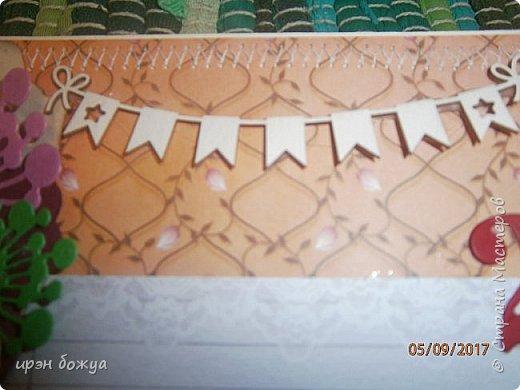 Поздравление учительнице в школу с Днем Рождения.Использовала различные украшени(цветы,полубусины,вырубку,чипборд,ленты и т.д.) фото 4