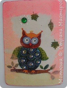 """""""Утро в лесу"""" -под таким """"кодовым"""" названием моя вторая серия) Вдохновила меня  салфетка, с такими чудесными филинами (мне , кажется, что это они)))  Карточки в технике декупаж.  фото 11"""