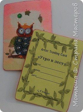"""""""Утро в лесу"""" -под таким """"кодовым"""" названием моя вторая серия) Вдохновила меня  салфетка, с такими чудесными филинами (мне , кажется, что это они)))  Карточки в технике декупаж.  фото 6"""