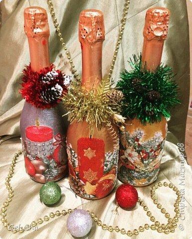 Всем здравствуйте! В преддверии нового года решила показать своё первое творчество в свит-дизайне, но не забыла и про новогодний декупаж на шампанском. фото 1