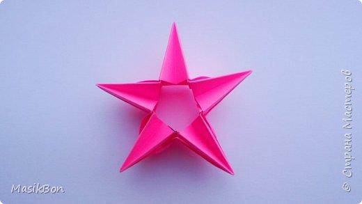 Новогодняя оригами звезда на ёлку из бумаги