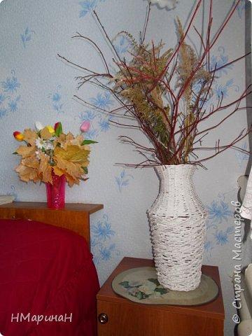 Добрый вечер, сплелась у меня такая ваза, высота 46 см. и теперь большой вопрос: какого цвета она должна быть. У семьи слишком полярные на её взгляды, я даже растерялась. Давайте голосовать! Приму любые советы. фото 4