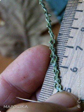 закончилась у меня трава для изготовления веревок, да вот остались тонюсенькие травинки - выбросить? они такие зеленые, такие длинные, баловства ради попробовала заплести зубатку.. смотрите: фото 5