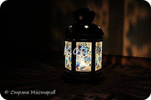 Сегодня Ихтиандра ( http://stranamasterov.ru/user/110615 ) выложила МК оригинального панно из бумажной снежинки и я не утерпела и решила похвалиться витражной росписью фонарика из Икеи, выполненной по МК этой замечательной мастерицы ( http://stranamasterov.ru/node/975873 ). фото 5