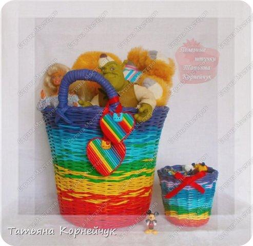 Большая корзина для игрушек и маленькая для карандашей или мелких игрушек. Вдохновила меня Татьяна Юрова. фото 1