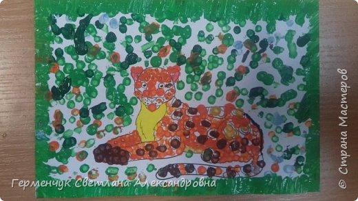"""Работы ребят 3 """"А"""" класса """"Эти забавные животные """"  выполнены  нетрадиционным способом рисования- ватными палочками. Раскраски  взяли из   Интернета фото 4"""