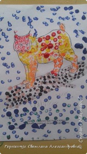 """Работы ребят 3 """"А"""" класса """"Эти забавные животные """"  выполнены  нетрадиционным способом рисования- ватными палочками. Раскраски  взяли из   Интернета фото 3"""