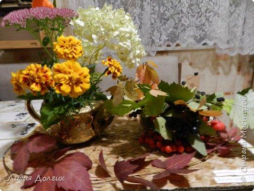"""Доброго времени суток, дорогие Мастера и Мастерицы. Сегодня, с некоторым опозданием, выставляем на Ваш суд нашу с Анечкой поделку , которую мы назвали """" Осеннее чаепитие"""", которая была выполнена на школьный конкурс осенних поделок из природного материала. фото 2"""