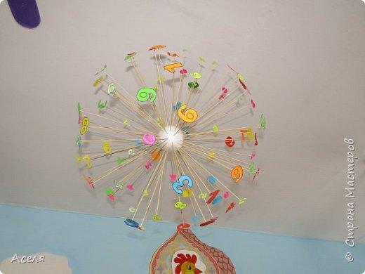 математический мобиль выполнен из бумажных цифр, длинных шпажек и шарика из пенопласта  фото 1