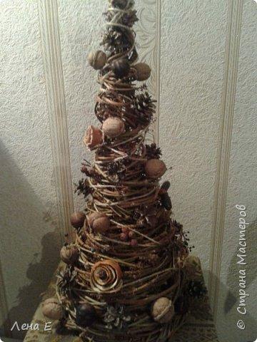 Всем Здравствуйте! Вот такая елочка родилась, использован природный материал. Шишки, орехи, каштаны, боярышник, розочки из апельсинов, желуди. фото 1