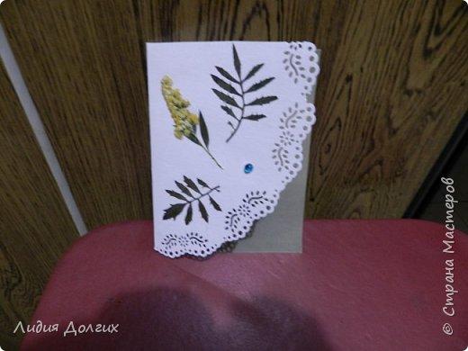 Доброго времени суток. Представляем Вам 3 открытки, сделанные ко дню учителя. Использовали белую и цветную бумагу и различные засушенные листочки и цветочки. Заодно опробовали купленный пробойник. Это открытка № 1 фото 3