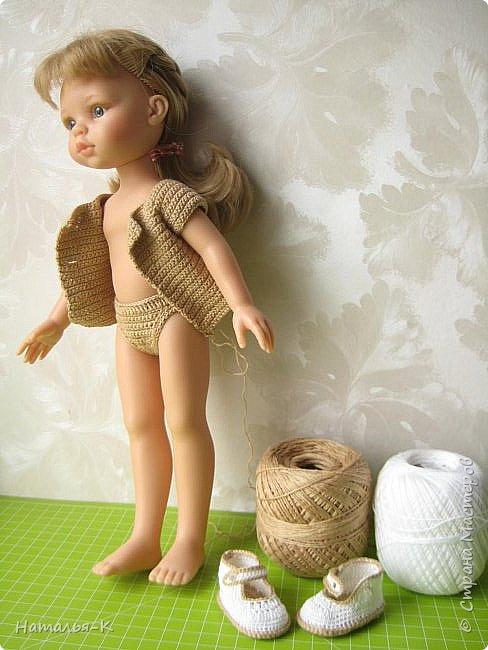 Здравствуйте дорогие мастерицы! Сегодня я пришла показать обновки для куклы паола Карла.  Вязала по МК Оксаны Лифенко. Ещё не постирала, поэтому петельки на фотографии рыхлые...  вяжу всю свою сознательную жизнь, но такие вещички для кукол..., учусь у Оксаны с 2015 года. Прекрасная Мастерица, я рада что повстречала её на моём творческом пути. фото 3