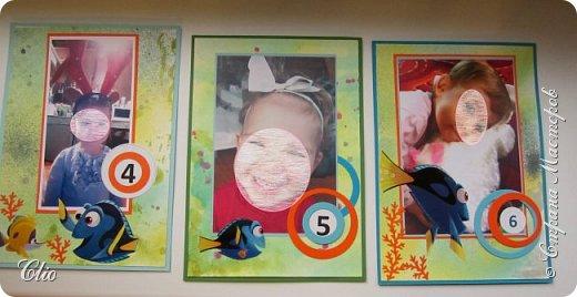 Давненько  я не заходила в СМ. А тут соскучилась, решила заглянуть, набраться вдохновения на Новый год)да заодно поделиться  своими работами. Не так давно был День рождения племянницы  и как повелось оформляла ей в стиле темы Дня рождения фотографии по месяцам.Очень ей эта рыбка Дори нравится).А поскольку День рождения уже справляли более широко, сделала и приглашения.  фото 6