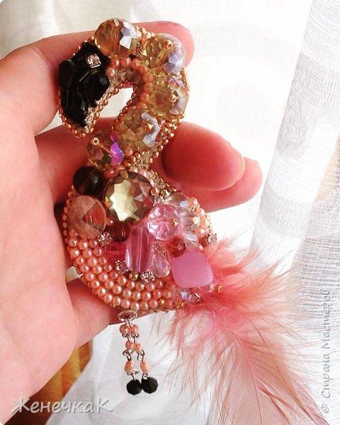 Фламинго. Брошь. фото 1