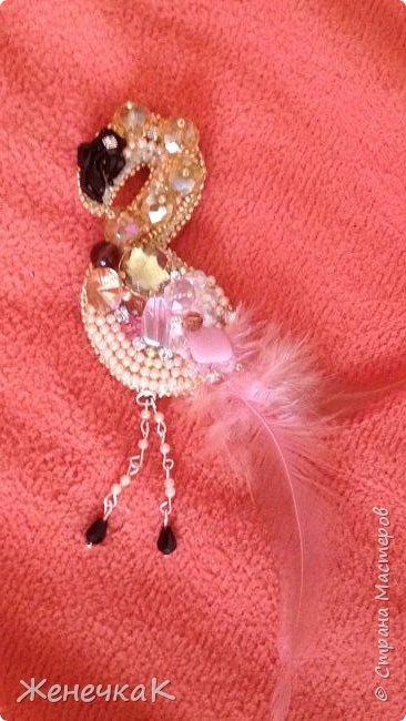 Фламинго. Брошь. фото 3
