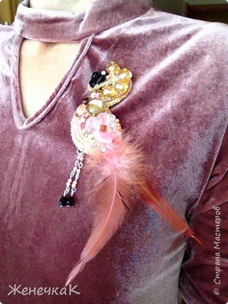 Фламинго. Брошь. фото 7
