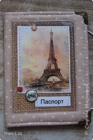 """Здравствуйте, дорогие жители Страны. Я к вам с очередной партией текстильных обложек на паспорт. Эта серия получилась полностью """"парижской"""". Все картинки и """"бумажки"""" заламинированы фото 6"""