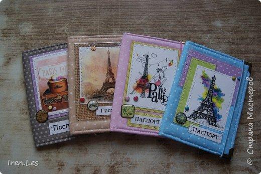 """Здравствуйте, дорогие жители Страны. Я к вам с очередной партией текстильных обложек на паспорт. Эта серия получилась полностью """"парижской"""". Все картинки и """"бумажки"""" заламинированы фото 1"""