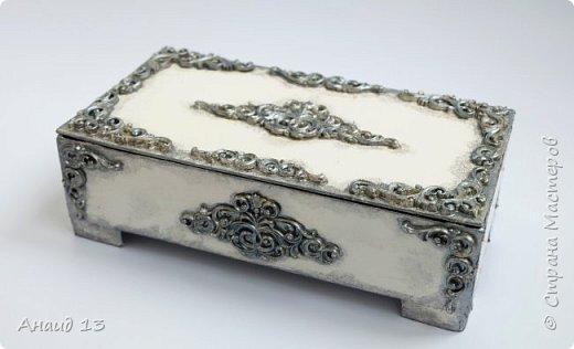Шкатулка из плотного картона, покрытого слоем шпаклевки.  Декор - холодный фарфор.  фото 1