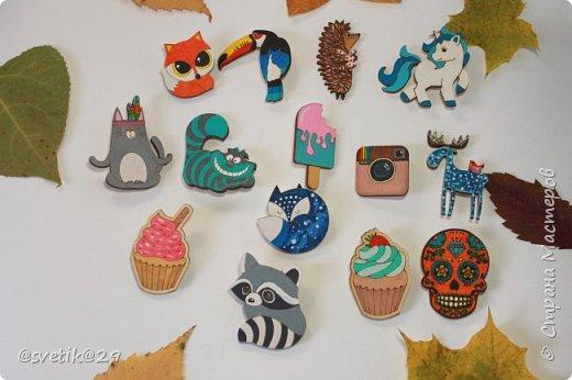 Деревянные брошки, расписаны в ручную акриловыми красками))) фото 3
