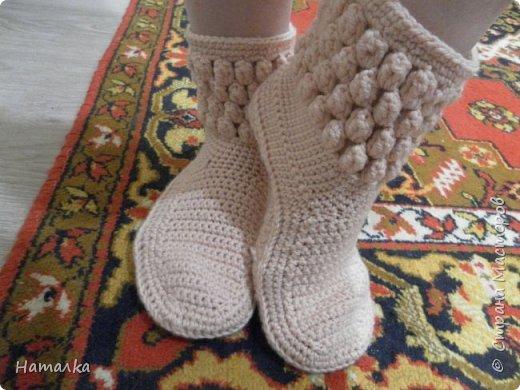 Шерстяные носки 39-го размера связаны крючком. Есть в наличии.