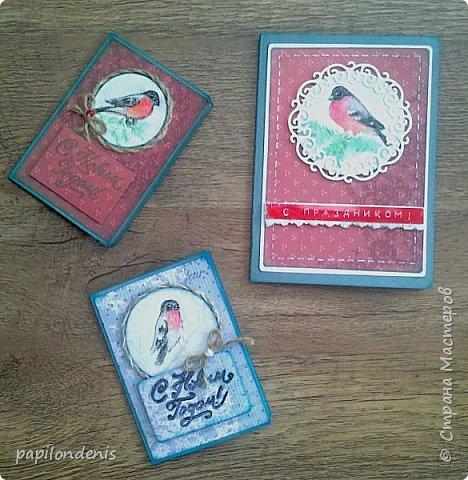 """Здравствуйте. Покажу сегодня вам простенькие открыточки, которые делала для """"своих"""". Использовала акварельные наброски снегирей (что-то вдруг потянуло на акварель:-), бумагу для пастели, скрапбумагу, надписи, штампы, ну и по-мелочи всякие шнурочки-бусинки, вырубку. фото 2"""