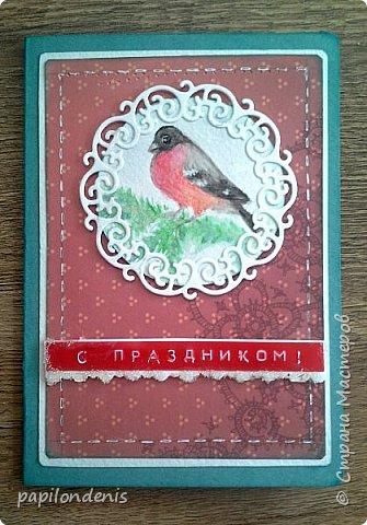 """Здравствуйте. Покажу сегодня вам простенькие открыточки, которые делала для """"своих"""". Использовала акварельные наброски снегирей (что-то вдруг потянуло на акварель:-), бумагу для пастели, скрапбумагу, надписи, штампы, ну и по-мелочи всякие шнурочки-бусинки, вырубку. фото 3"""