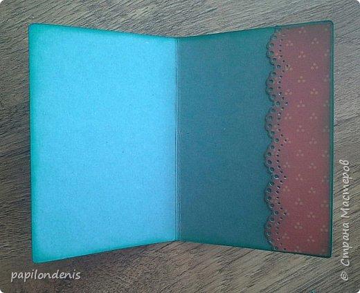"""Здравствуйте. Покажу сегодня вам простенькие открыточки, которые делала для """"своих"""". Использовала акварельные наброски снегирей (что-то вдруг потянуло на акварель:-), бумагу для пастели, скрапбумагу, надписи, штампы, ну и по-мелочи всякие шнурочки-бусинки, вырубку. фото 7"""