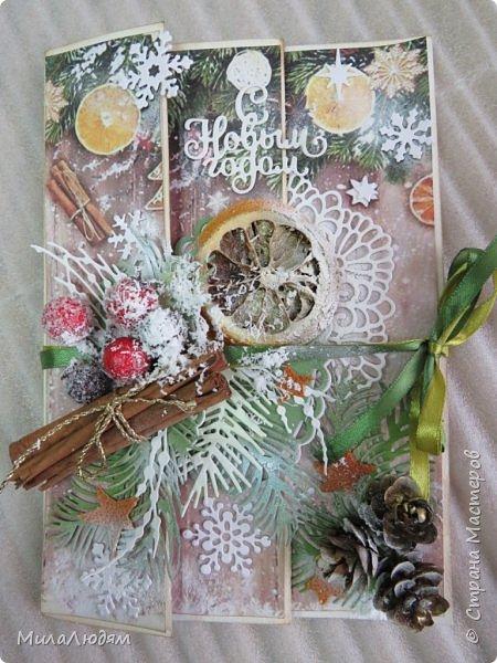 """Всем здравствуйте! отчитываюсь за IV ЭТАП СТ """"Семь чудесных открыток"""" -""""Открытка-раскладушка"""":  ТЕМА - Новый год, Рождество, зима ФОРМА - любая (прямоугольник, квадрат, трапеция и т.д.) Три года назад, когда я пришла в скрап, я увидела открытку, которая запала в душу. Я ее повторила дважды и каждый раз, как оказалось, неправильно, средний ярус я вклеивала, а надо было сгибать. (я потом нашла МК)http://stranamasterov.ru/node/827683 и  http://stranamasterov.ru/node/826879    И вот теперь я ее сделала правильно. Назвала я ее """"Корица и апельсин"""" ОУ (обязательное условие) - вертикальные грани (сгибы) фото 1"""