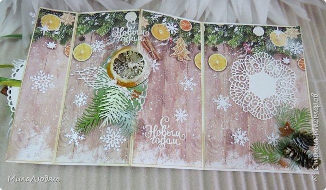"""Всем здравствуйте! отчитываюсь за IV ЭТАП СТ """"Семь чудесных открыток"""" -""""Открытка-раскладушка"""":  ТЕМА - Новый год, Рождество, зима ФОРМА - любая (прямоугольник, квадрат, трапеция и т.д.) Три года назад, когда я пришла в скрап, я увидела открытку, которая запала в душу. Я ее повторила дважды и каждый раз, как оказалось, неправильно, средний ярус я вклеивала, а надо было сгибать. (я потом нашла МК)http://stranamasterov.ru/node/827683 и  http://stranamasterov.ru/node/826879    И вот теперь я ее сделала правильно. Назвала я ее """"Корица и апельсин"""" ОУ (обязательное условие) - вертикальные грани (сгибы) фото 16"""