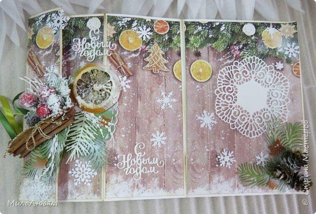 """Всем здравствуйте! отчитываюсь за IV ЭТАП СТ """"Семь чудесных открыток"""" -""""Открытка-раскладушка"""":  ТЕМА - Новый год, Рождество, зима ФОРМА - любая (прямоугольник, квадрат, трапеция и т.д.) Три года назад, когда я пришла в скрап, я увидела открытку, которая запала в душу. Я ее повторила дважды и каждый раз, как оказалось, неправильно, средний ярус я вклеивала, а надо было сгибать. (я потом нашла МК)http://stranamasterov.ru/node/827683 и  http://stranamasterov.ru/node/826879    И вот теперь я ее сделала правильно. Назвала я ее """"Корица и апельсин"""" ОУ (обязательное условие) - вертикальные грани (сгибы) фото 17"""