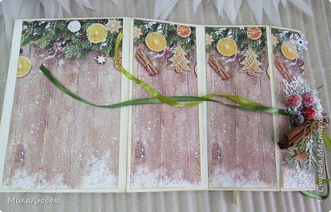 """Всем здравствуйте! отчитываюсь за IV ЭТАП СТ """"Семь чудесных открыток"""" -""""Открытка-раскладушка"""":  ТЕМА - Новый год, Рождество, зима ФОРМА - любая (прямоугольник, квадрат, трапеция и т.д.) Три года назад, когда я пришла в скрап, я увидела открытку, которая запала в душу. Я ее повторила дважды и каждый раз, как оказалось, неправильно, средний ярус я вклеивала, а надо было сгибать. (я потом нашла МК)http://stranamasterov.ru/node/827683 и  http://stranamasterov.ru/node/826879    И вот теперь я ее сделала правильно. Назвала я ее """"Корица и апельсин"""" ОУ (обязательное условие) - вертикальные грани (сгибы) фото 18"""