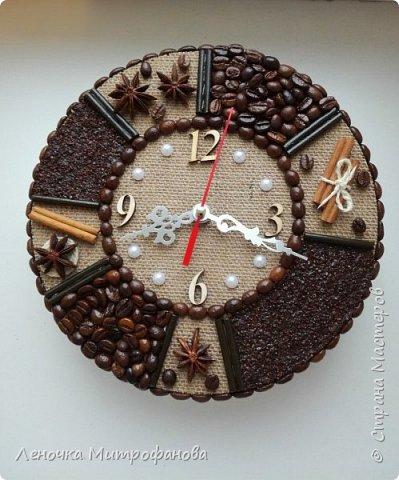 Наконец то я попробовала сделать часы из кофе. Диаметр 22 см  фото 1
