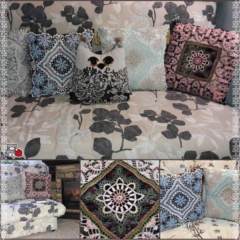 Всё это в своё время вязалось как салфетки. Но оказалось, что это прекрасный вариант декорировать диванные подушки и придать уютности дому.  фото 1