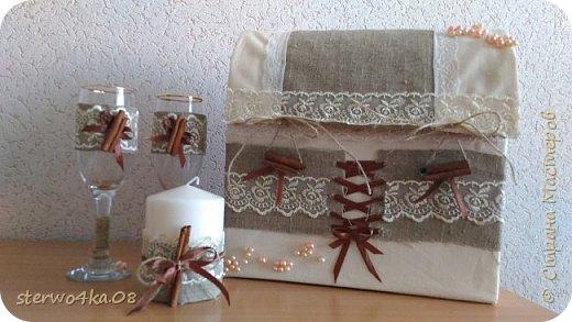 Бокалы, свечи, свеча-очаг, подушка для колец, семейный банк, подвязка, декор шкатулки под серьги (для эффектности фотосессии) фото 2