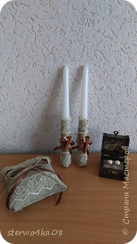 Бокалы, свечи, свеча-очаг, подушка для колец, семейный банк, подвязка, декор шкатулки под серьги (для эффектности фотосессии) фото 3