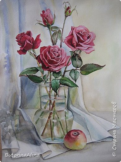 "Натюрморт ""Розы"" с натуры.  фото 1"
