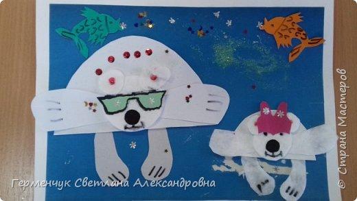 """Вот такие  симпатичные  медведи получились  у  ребят 3 """"А"""" класса . Белым  медведям,  в  наше  время  глобального потепления,  приходится очень трудно .Да и человек является еще одной опасностью для них. И мы с ребятами решили  показать своими работами ,что  эти животные очень любящие и  заботливые родители .. фото 16"""