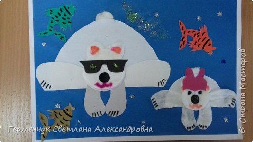 """Вот такие  симпатичные  медведи получились  у  ребят 3 """"А"""" класса . Белым  медведям,  в  наше  время  глобального потепления,  приходится очень трудно .Да и человек является еще одной опасностью для них. И мы с ребятами решили  показать своими работами ,что  эти животные очень любящие и  заботливые родители .. фото 13"""