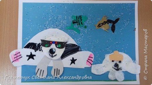 """Вот такие  симпатичные  медведи получились  у  ребят 3 """"А"""" класса . Белым  медведям,  в  наше  время  глобального потепления,  приходится очень трудно .Да и человек является еще одной опасностью для них. И мы с ребятами решили  показать своими работами ,что  эти животные очень любящие и  заботливые родители .. фото 9"""