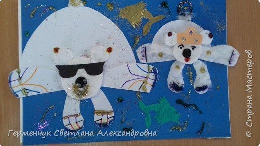 """Вот такие  симпатичные  медведи получились  у  ребят 3 """"А"""" класса . Белым  медведям,  в  наше  время  глобального потепления,  приходится очень трудно .Да и человек является еще одной опасностью для них. И мы с ребятами решили  показать своими работами ,что  эти животные очень любящие и  заботливые родители .. фото 7"""