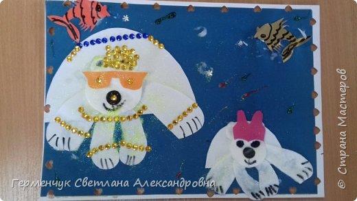 """Вот такие  симпатичные  медведи получились  у  ребят 3 """"А"""" класса . Белым  медведям,  в  наше  время  глобального потепления,  приходится очень трудно .Да и человек является еще одной опасностью для них. И мы с ребятами решили  показать своими работами ,что  эти животные очень любящие и  заботливые родители .. фото 6"""