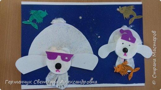 """Вот такие  симпатичные  медведи получились  у  ребят 3 """"А"""" класса . Белым  медведям,  в  наше  время  глобального потепления,  приходится очень трудно .Да и человек является еще одной опасностью для них. И мы с ребятами решили  показать своими работами ,что  эти животные очень любящие и  заботливые родители .. фото 4"""