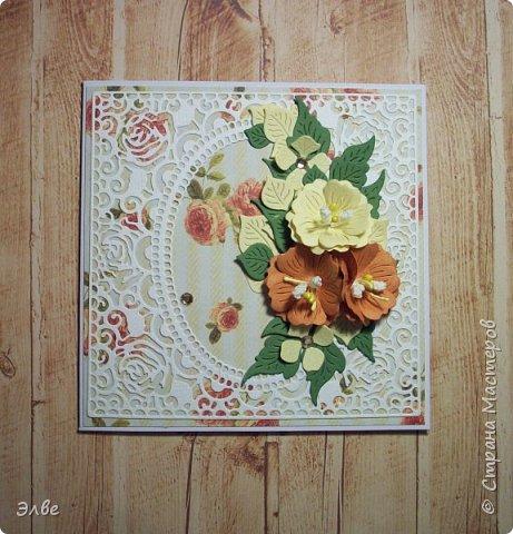 """Открытка со странным для меня сочетанием , """" что-нибудь в цвет осени, жёлненько и розовенько"""". Я долго думала, складывала бумажки дня три, вот то, что получилось. Размер открытки 12.5 на 17,8 см. фото 5"""